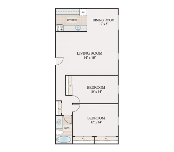 2 Bedroom 1 Bathroom. 900 sq. ft.