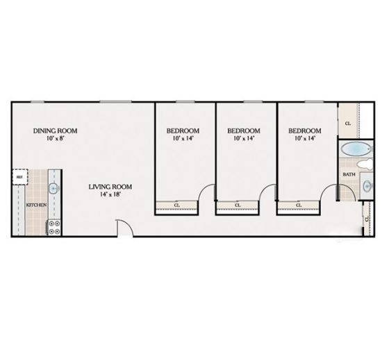 3 Bedroom 1 Bathroom. 100-1150 sq. ft.