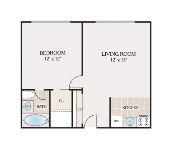 Jr. 1 Bedroom 1 Bathroom. 500 sq. ft.
