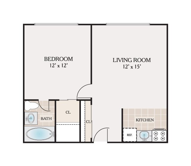 Jr 1 Bedroom Bathroom 500 Sq Ft
