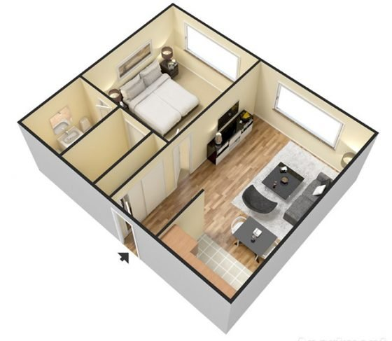3D Jr. 1 Bedroom 1 Bathroom. 500 sq. ft.