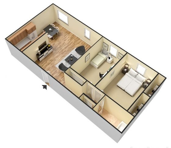 3D 2 Bedroom 1 Bathroom. 900 sq. ft.