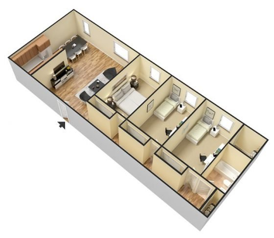 3D 3 Bedroom 1 Bathroom. 100-1150 sq. ft.